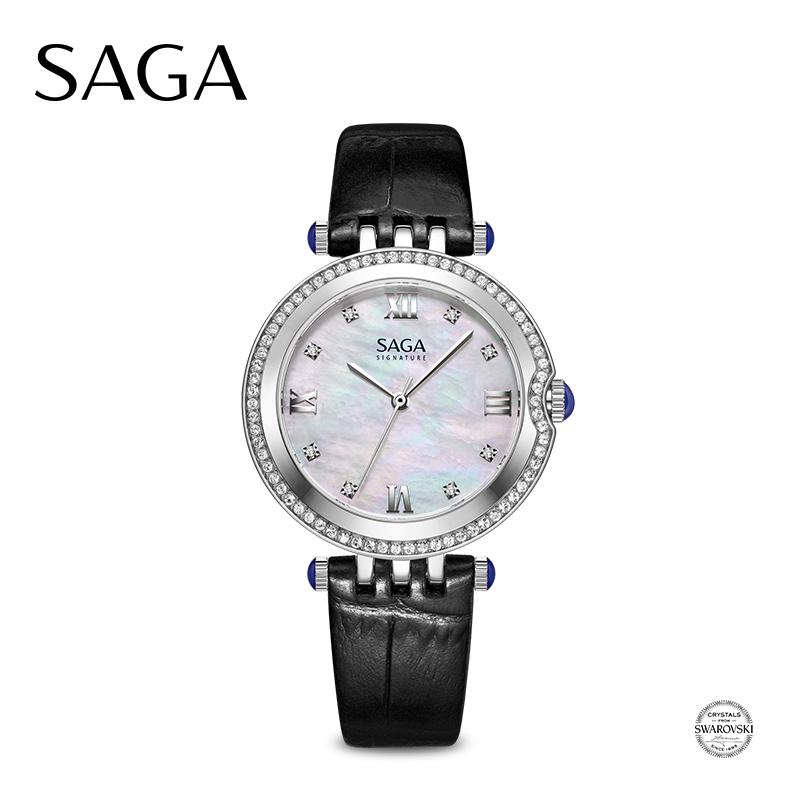 SAGA世家表 手表女水晶镶嵌圆形表盘简洁大方轻奢高档女士石英皮表带钢带手表送女友