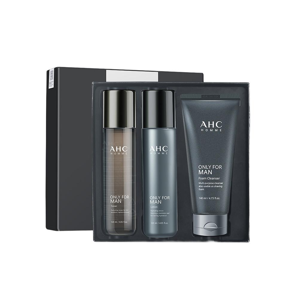 [香港直郵]韓國AHC男士水乳套裝三件套盒男生洗面奶保濕控油護膚