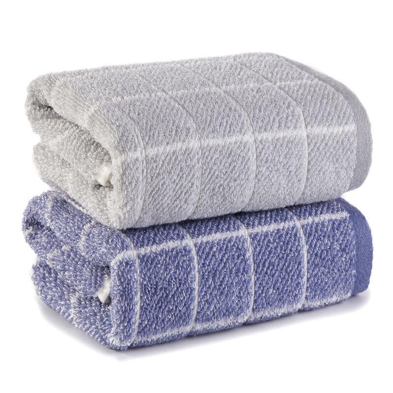 洁丽雅(Grace)毛巾家纺 经典格纹系列纯棉强吸水面巾 二条装 兰/灰 72*34cm
