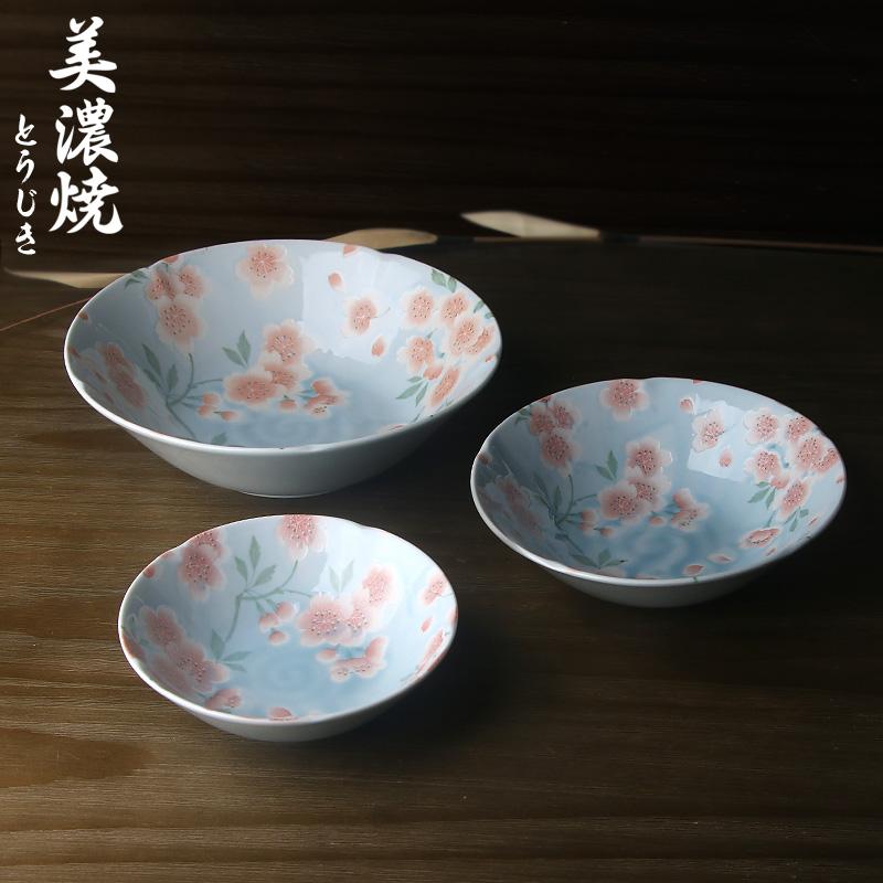 MinoYaki美浓烧日本进口满开樱花系列陶瓷碗碟盘餐具五件套