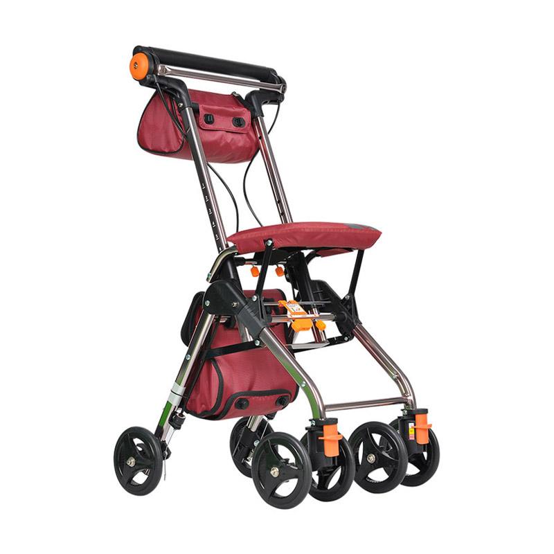 日本TacaoF/特高步购物车老人助行器超轻小便携折叠可坐T-CPS02老年手推车代步车 T-CPS02A 加大版