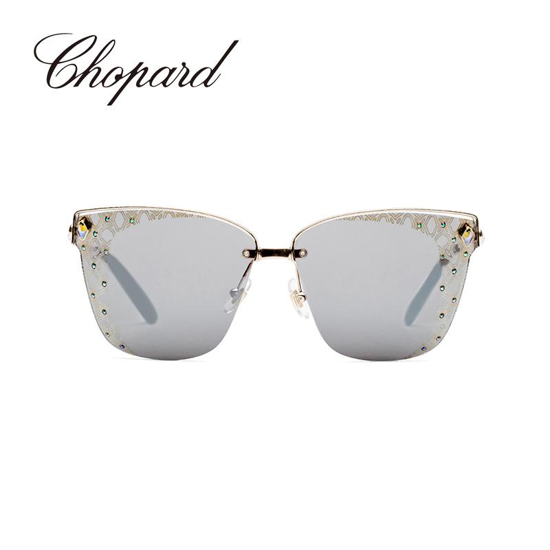 意大利Chopard/萧邦金属方框水钻时尚潮流女士墨镜太阳眼镜SCHC19S