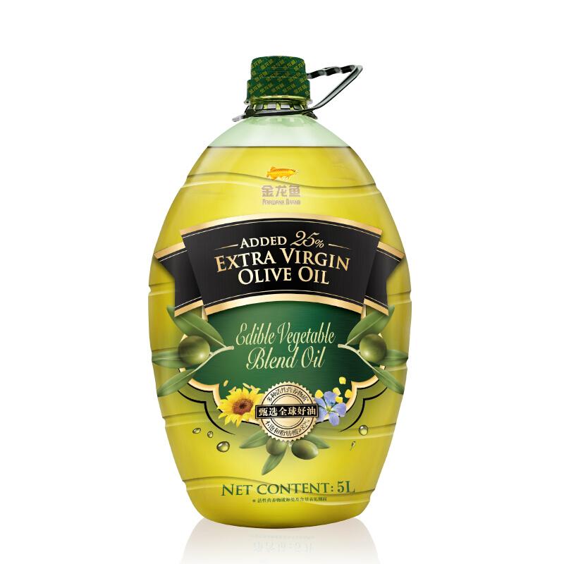 金龍魚 食用油 添加25%特級初榨橄欖油 食用植物調和油 5L
