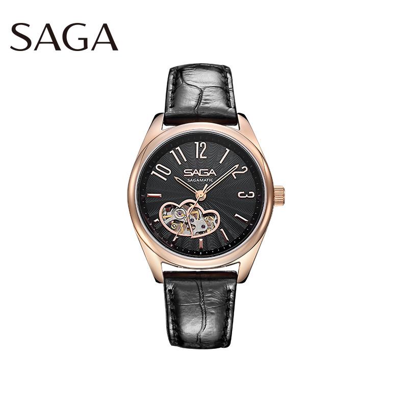 SAGA世家女士手表防水 機械表心隨你動小巧精致時尚優雅鏤空防水真皮表帶女士機械皮帶手表送女友