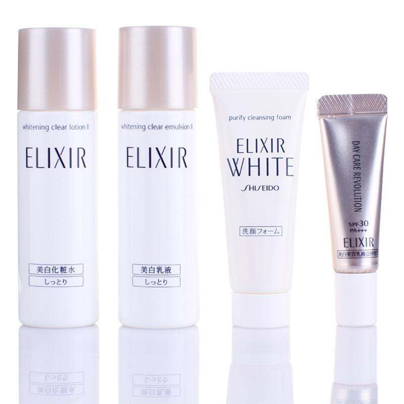 資生堂旗下品牌 怡麗絲爾(ELIXIR)純肌凈白7日護膚體驗套裝(潔面+水+乳+精華乳護膚品化妝品)日本進口