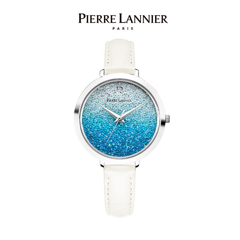 连尼亚(PIERRE LANNIER)法国进口女士满天星手表 施华洛世奇星钻系列36mm水晶表盘小众石英女表PL-101G669