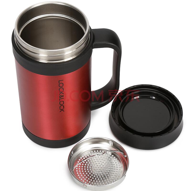 乐扣乐扣(lock&lock)真空马克杯商务杯子不锈钢水杯红色400mL保温杯LHC4030R,乐扣乐扣(LOCK&LOCK)