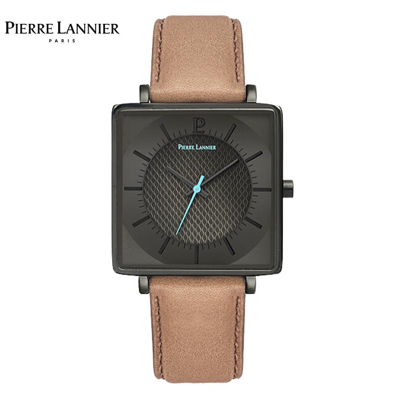 连尼亚(PIERRE LANNIER)法国PL手表男新款 棕色经典皮带灰盘男士手表方表欧美表超薄石英表212F484