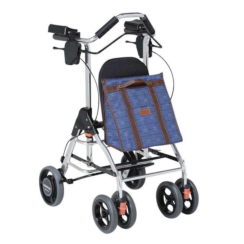 TacaoF特高步 日本老年人助行车 可坐折叠收纳助行器 遛弯买菜购物车 铝合金 送妈妈母亲节礼物 助步车