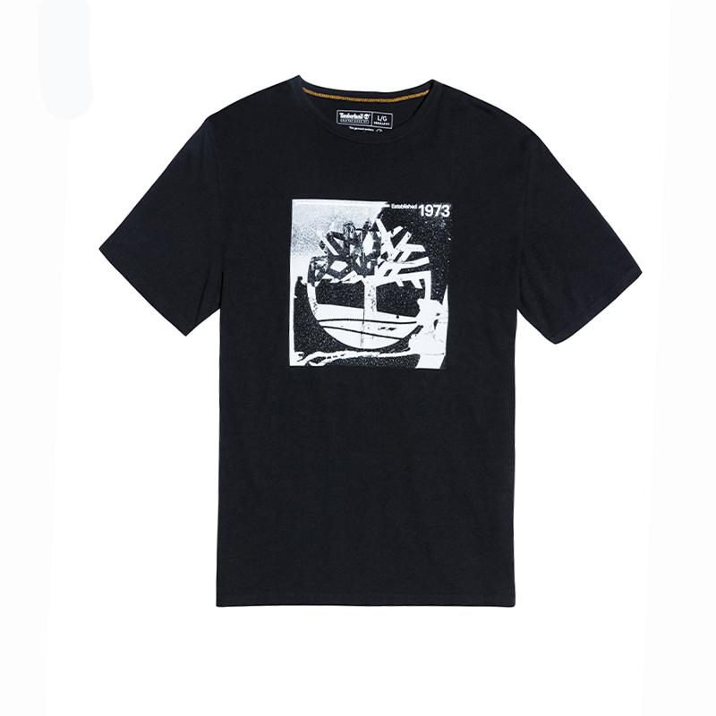 Timberland添柏岚男装新款舒适印花短袖圆领T恤黑色 A2F1X-001