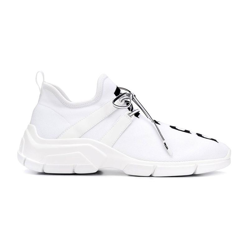 PRADA/普拉达 女士白色布针织面料黑色Logo嵌花图案及独特徽标系带运动鞋