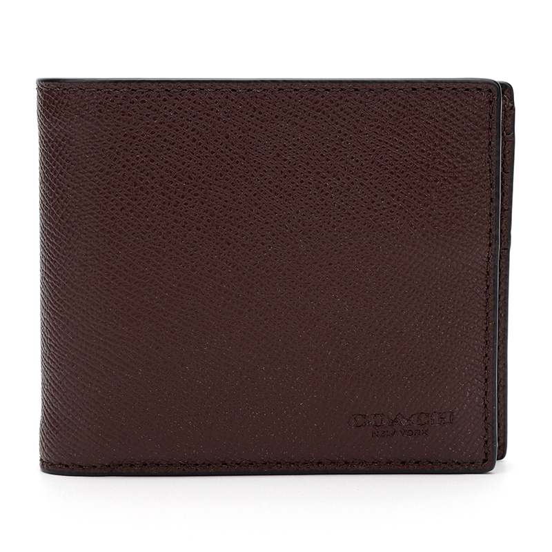 COACH 蔻驰 奢侈品 男士专柜款棕红色皮质短款对折钱包25605 DXB