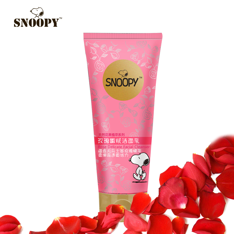 snoopy史努比玫瑰洁面乳80g少女少男孩洗面奶 补水白里透红护肤品