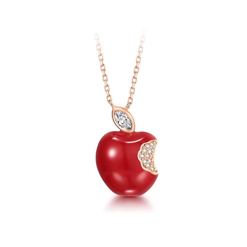 T400 S925银红玛瑙苹果项链 T031O0A
