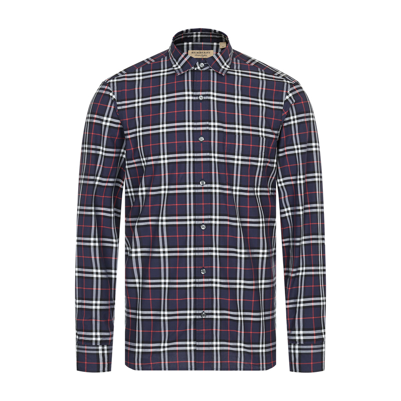 Burberry/紫灰色格纹男士长袖衬衫