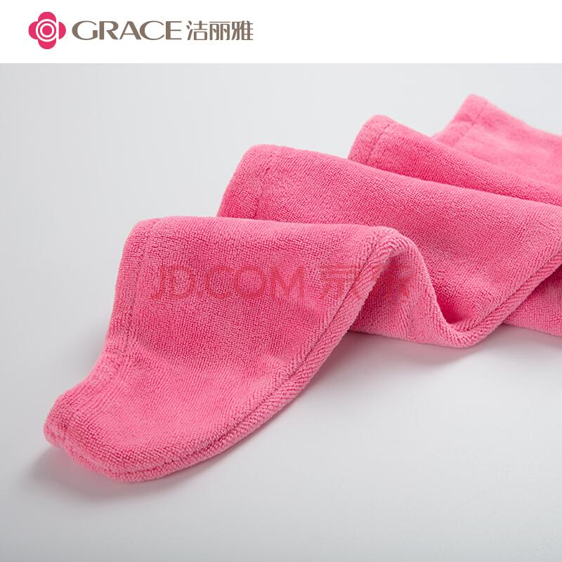 洁丽雅(Grace)干发帽 超柔软强吸水干发帽加厚包头速干毛巾 玫红色 65x25cm,洁丽雅(Grace)