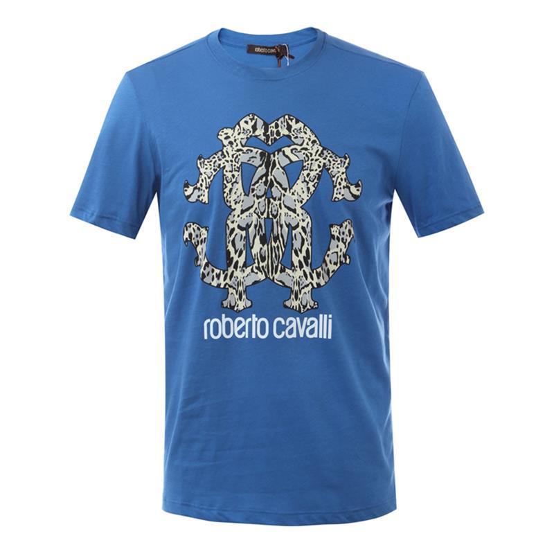 Roberto Cavalli/罗伯特·卡沃利 圆领男士短袖T恤 FST675 A#273 蓝色/酒红色/白色/黑色/深蓝色