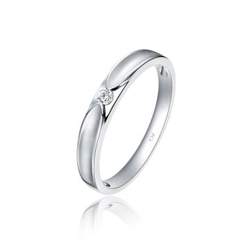 周大福情約PT950鉑金鉆石戒指鉆戒情侶對戒女A124804