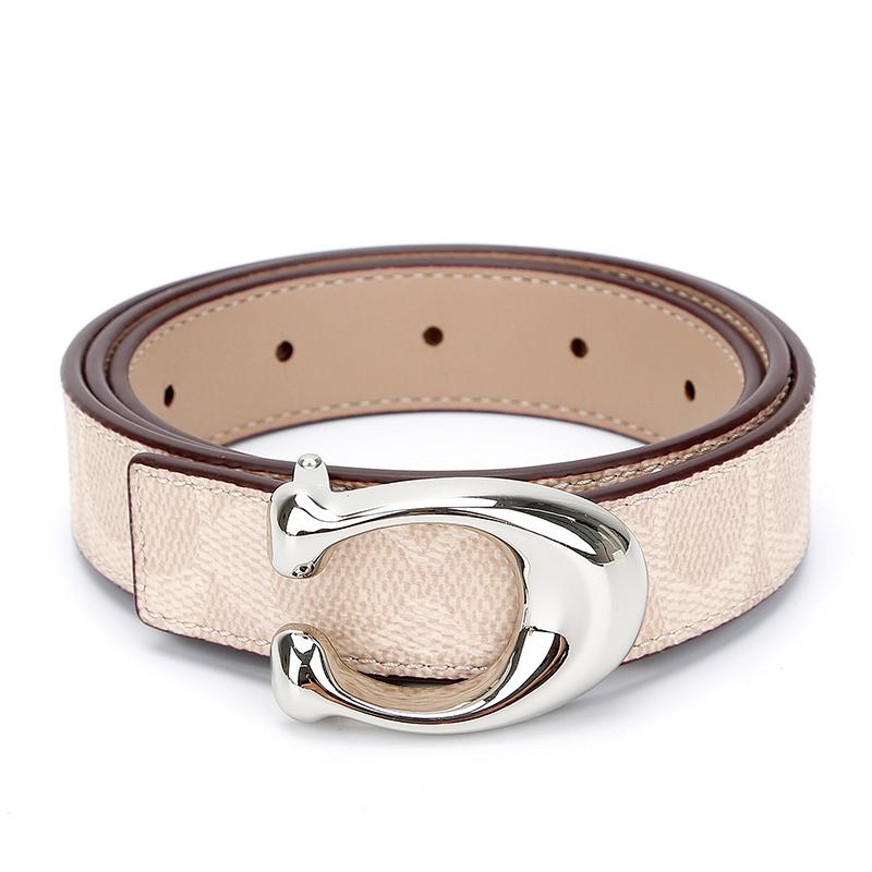 蔻驰 COACH 奢侈品 女士专柜款双面人造革配皮腰带皮带浅卡其配咖色 78173 NIPWT-S