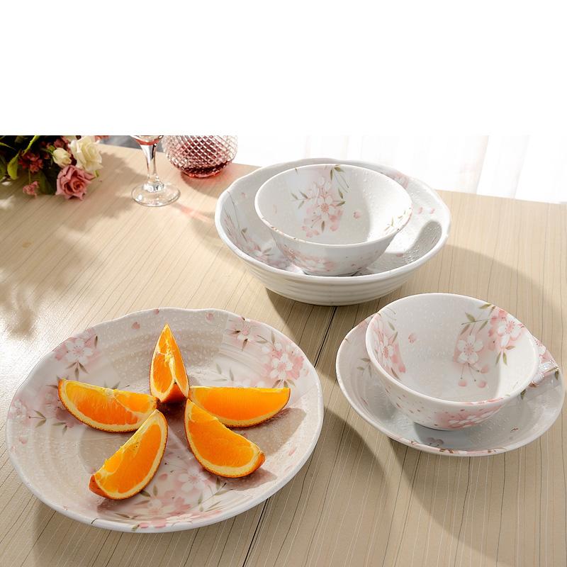 MinoYaki 美濃燒 日本進口 間取櫻花餐具碗盤碟5件套裝