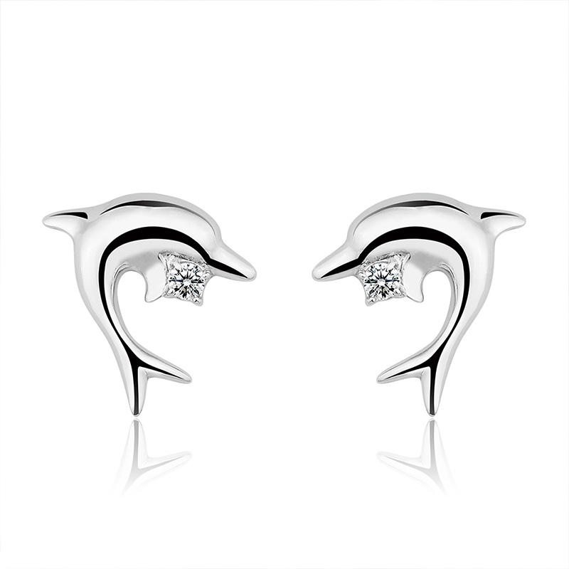 【美国】MY FASHION DESIGN 925银耳钉女海豚耳钉纯银