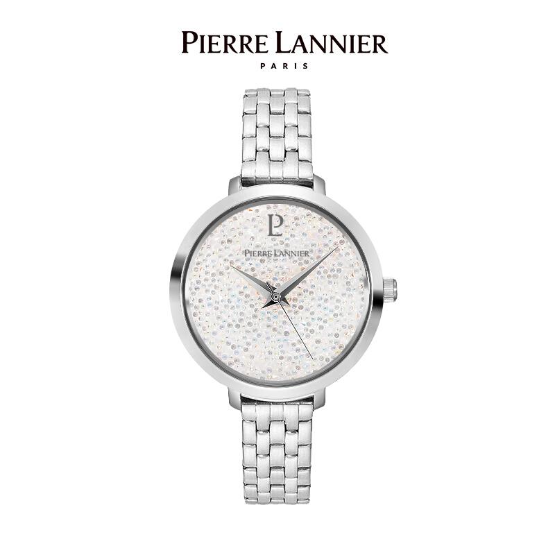 連尼亞(PIERRE LANNIER)法國進口女士滿天星手表 施華洛世奇星鉆系列36mm水晶表盤小眾石英女表PL-099J999