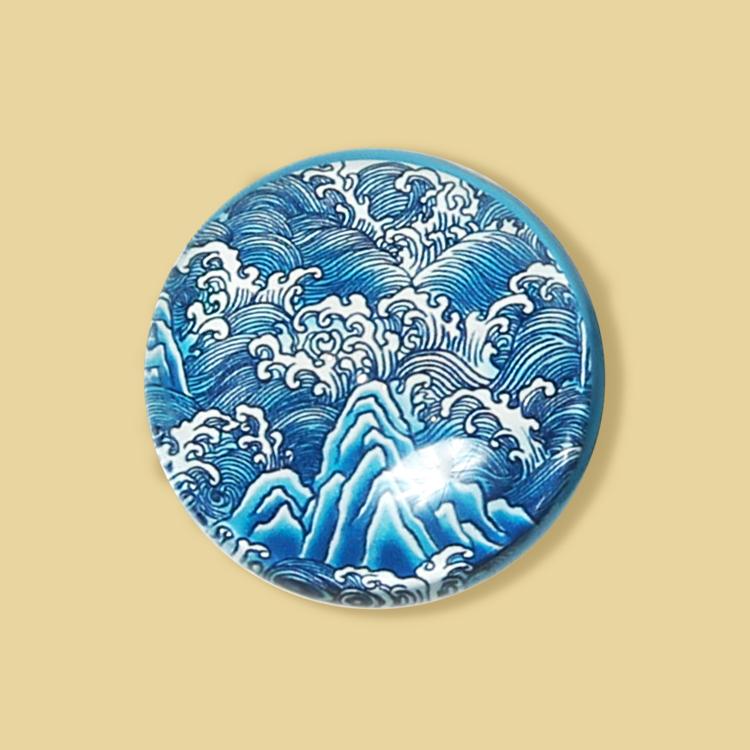 宮廷紋飾冰箱貼-青花海水江崖紋飾
