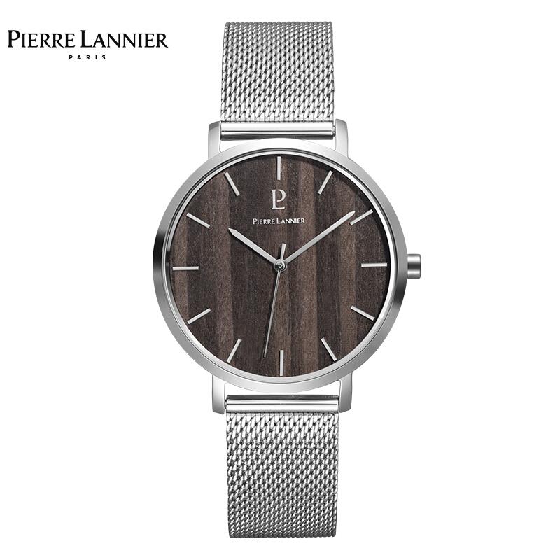 连尼亚(PIERRE LANNIER)法国PL男士石英手表 Nature系列40mm黑色木纹木质表盘银边钢带腕表240H188