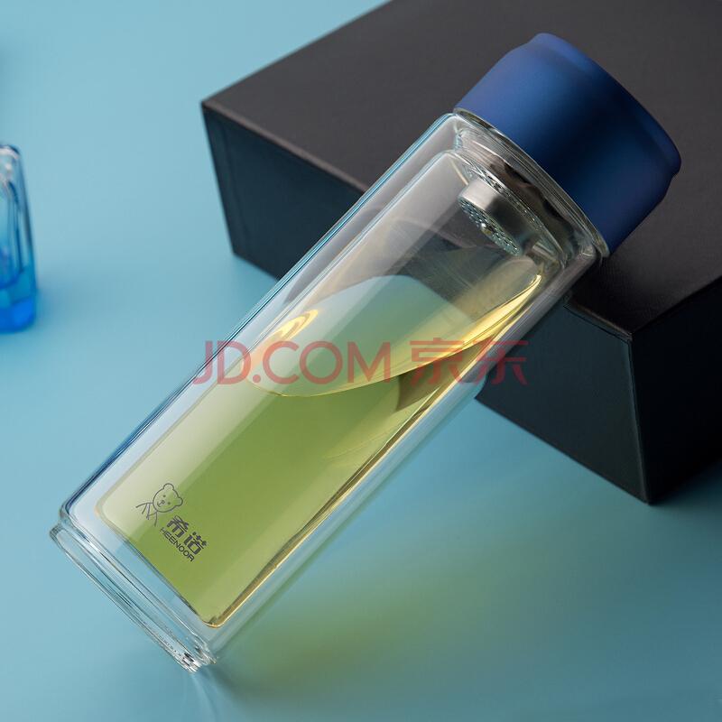 希诺(HEENOOR)玻璃杯双层加厚透明水杯带盖大容量过滤带提环便携杯子XN-6775蓝色 360ml,希诺(HEENOOR)