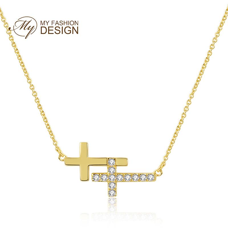 MYFD 项链女S925银镶晶钻知性优雅系列横向双十字架项链MYN18314
