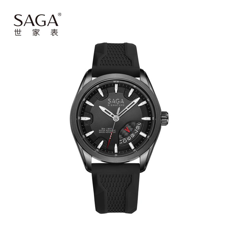 SAGA世家表瑞士进口机芯蓝宝石表镜镭射赛车仪表盘设计一表两戴时尚运动男士石英手表真皮表带