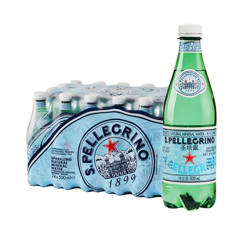 意大利原装进口 圣培露(S.PELLEGRINO)充气天然矿泉水500ml*24瓶 整箱(新老包装随机发货)