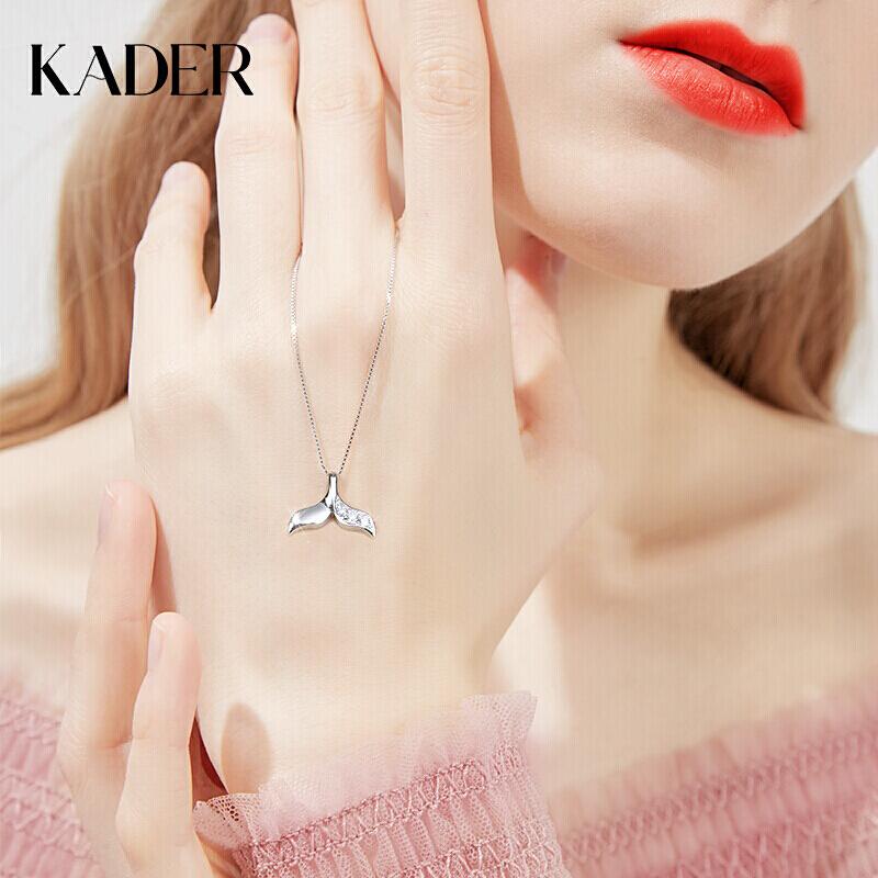 卡蒂罗925银项链女韩版女士美人鱼尾鲸尾吊坠首饰生日礼物送女友