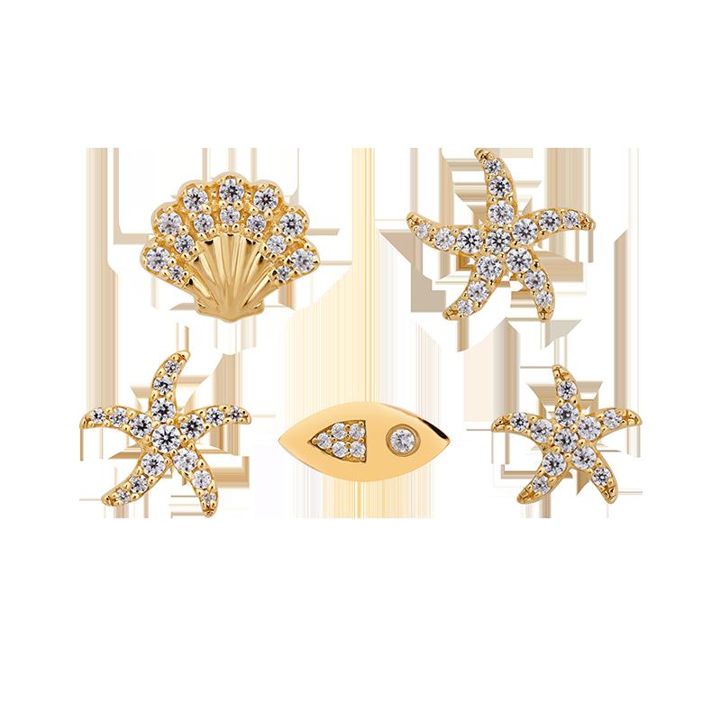 APM MONACO正品耳饰海洋小动物海星耳钉套装送女友AE12603OXY