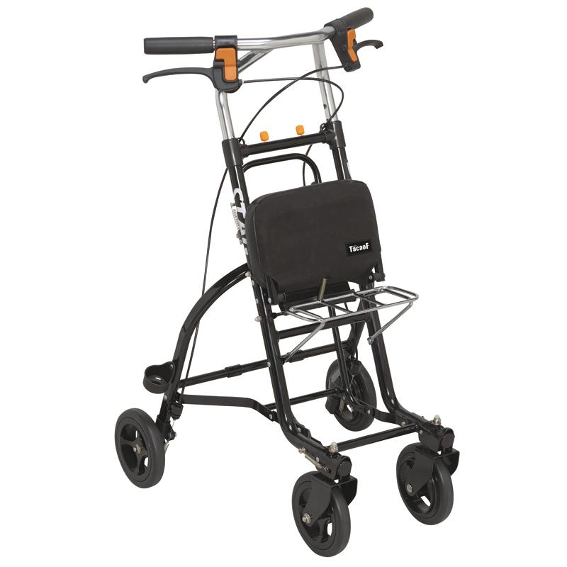 TacaoF 特高步 日本老年人助行手推车 可调节扶手遛弯四轮 轻便易携可坐椅子 铝合金可折叠助步车 男式T-US06(黑色)
