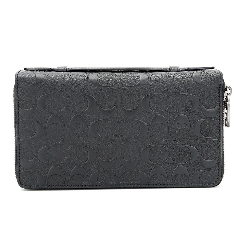 蔻驰 COACH 奢侈品 男士专柜款十字纹皮革双拉链手拿包钱包黑色 25686 BLK