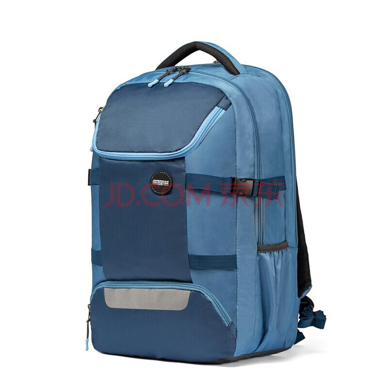 美旅背包男书包大学生双肩包大容量背包户外旅行包 82O*002复古蓝,美旅箱包(AmericanTourister)