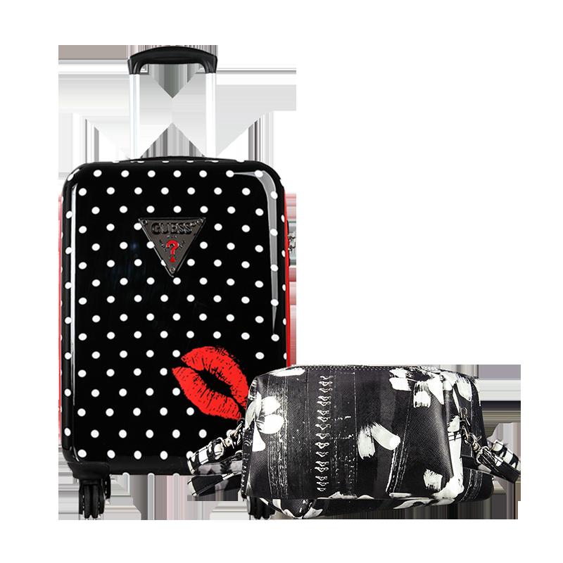 GUESS盖尔斯红唇系列22英寸拉杆硬箱两件套 黑色