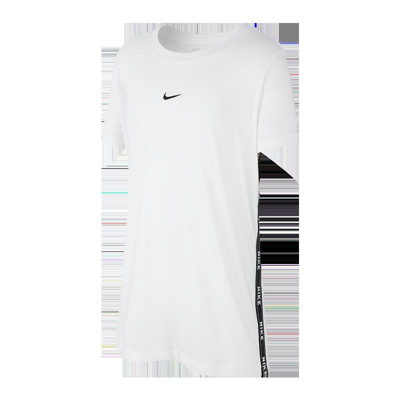 耐克NIKE 女子 休闲短袖 TEE LOGO TAPE T恤 AR5341-100白色S码