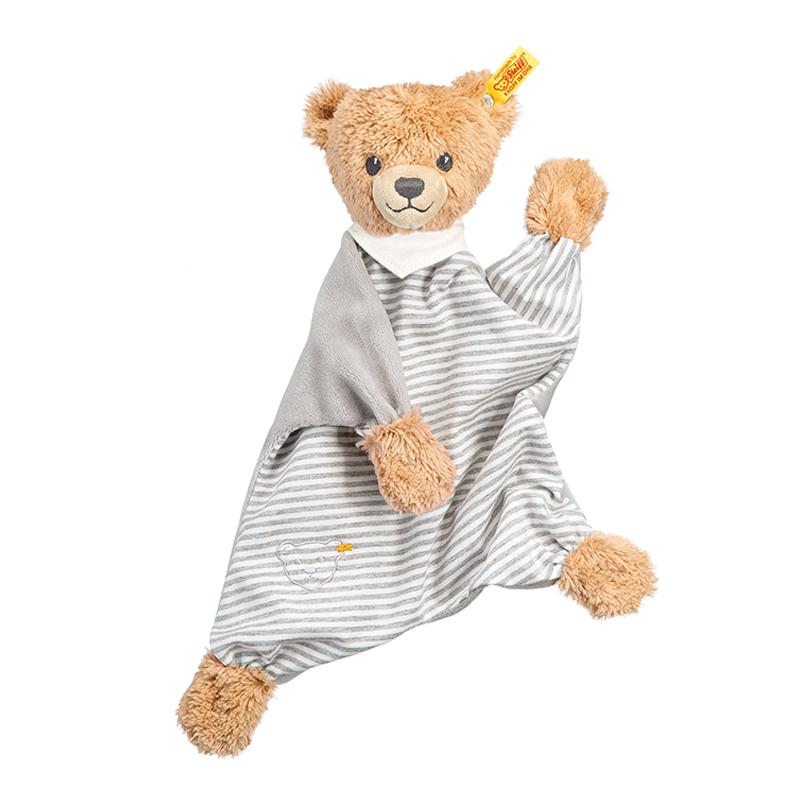 德国Steiff毛绒玩具哄睡熊安抚巾灰色 30cm 4001505239915