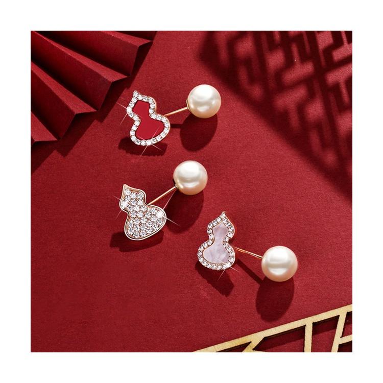 静风格人工珍珠胸针女高档奢华防走光扣14K玫瑰金葫芦别针配饰品JI201S0004