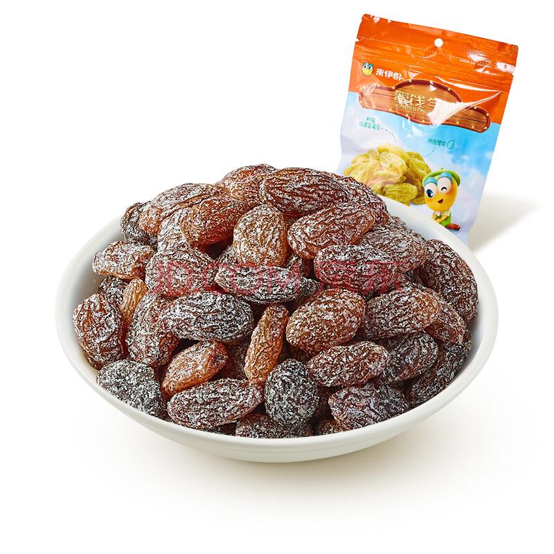 来伊份 无籽葡萄干 休闲零食新疆吐鲁番食品果干蜜饯小包装118g/袋(新老包装随机发货),来伊份