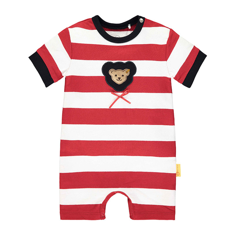 Steiff婴幼儿针织连体衣 德国进口 红色条纹小熊连体短裤 L002012233