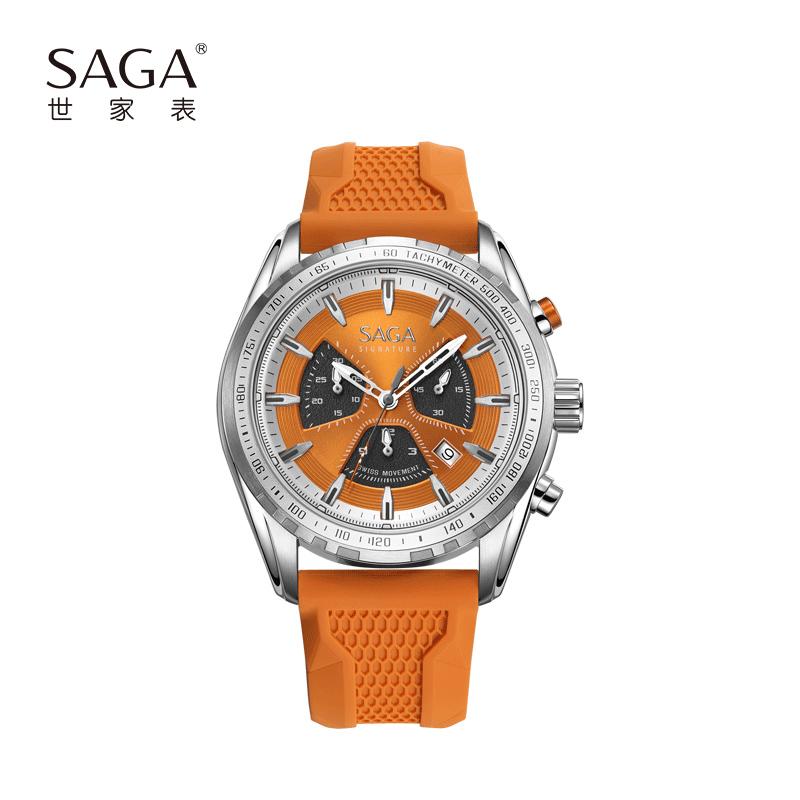 SAGA世家表 瑞士进口石英机芯蓝宝石表镜三盘六针夜光男士运动手表送男友礼物赠真皮表带