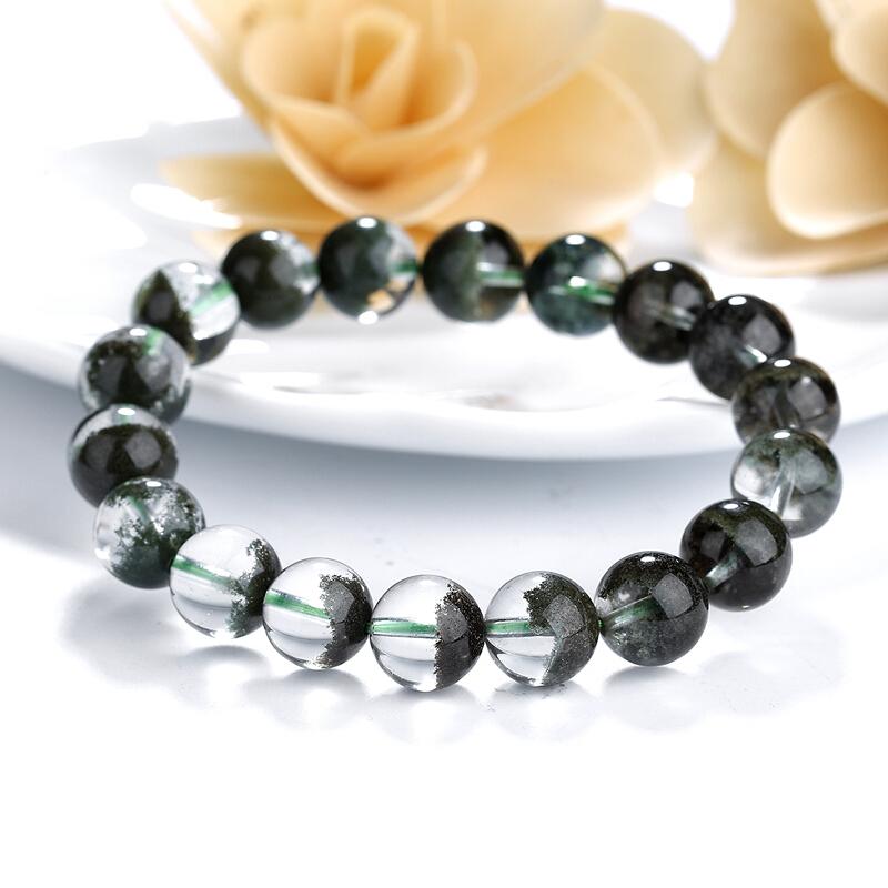 石玥珠宝 11-12mm绿幽灵水晶手链手串 情侣手链 绿色