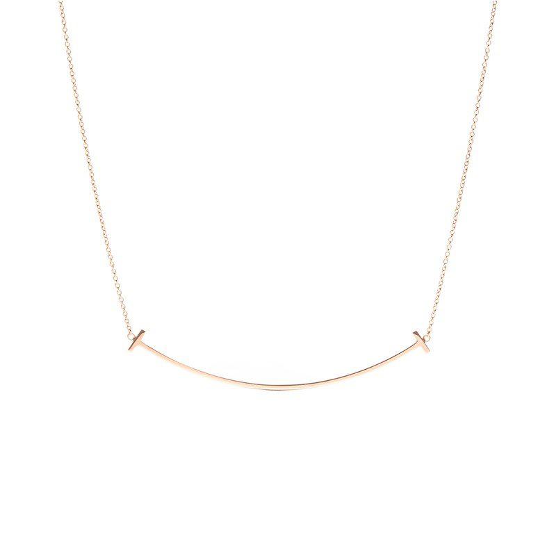 Tiffany&Co./蒂芙尼 TIFFANY T系列 玫瑰金色18K金 大号笑脸可调节项链 40/45cm 33637152