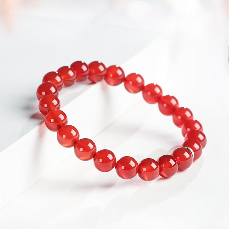 石头记(istone)红玛瑙手链男女款水晶手串8mm送女友送家人节日礼物