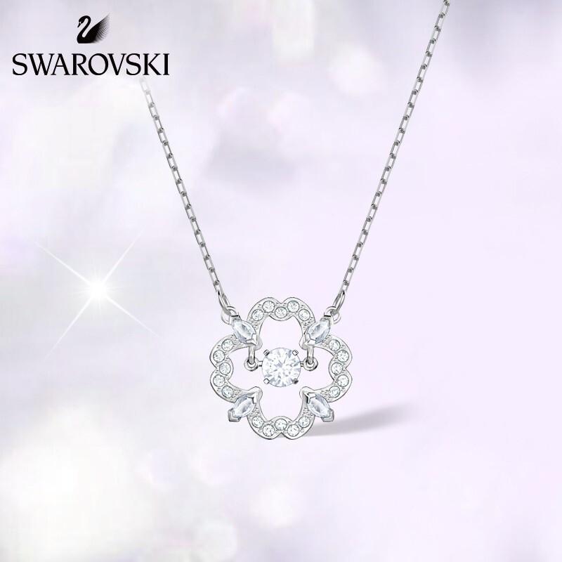 Swarovski/施华洛世奇2018新款款银色花朵边框跃动水晶跳动的心项链 5392759