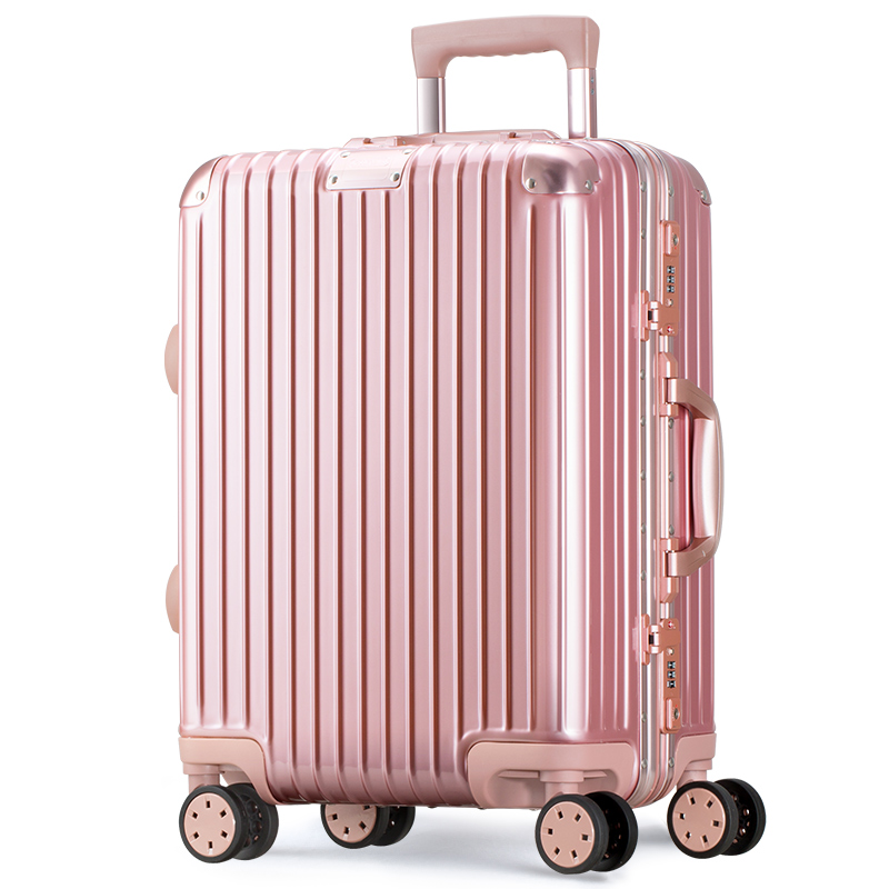瑞动 铝框拉杆箱20英寸密码锁行李箱 复古旅行箱静音万向轮 MT-5073玫瑰金