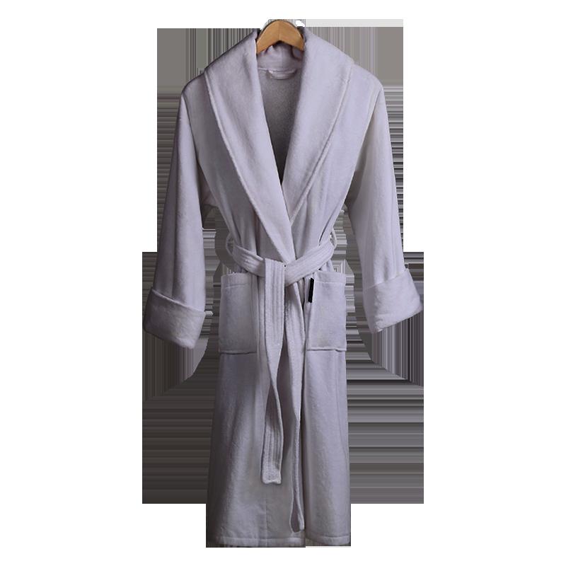 康尔馨 五星级酒店浴袍 纯棉吸水 全棉毛巾料浴衣 男女通用 灰色 L